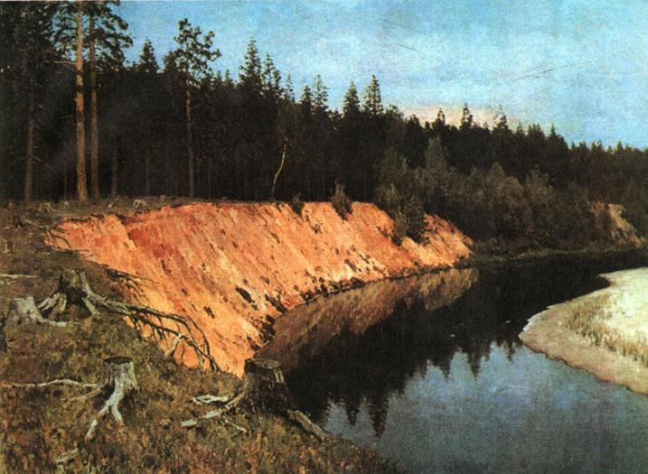 Сочинение по картине Левитана «Лесистый берег».