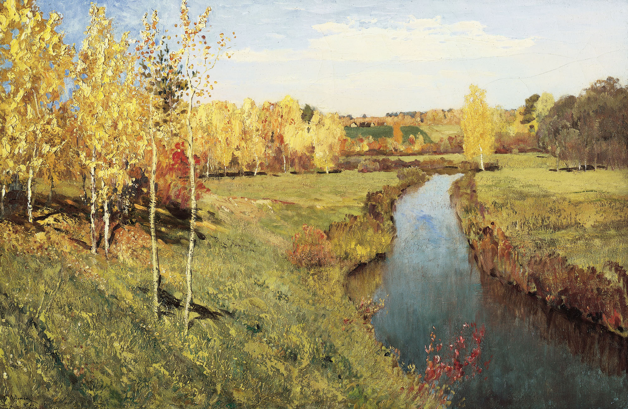 Сочинение по картине Левитана «Золотая осень»