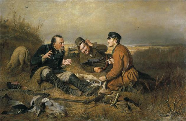 Сочинение по картине Перова «Охотники на привале».