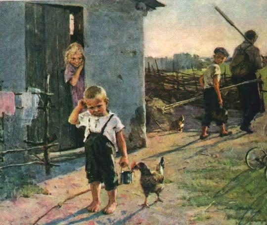 Сочинение по картине О.В. Поповича «Не взяли на рыбалку».