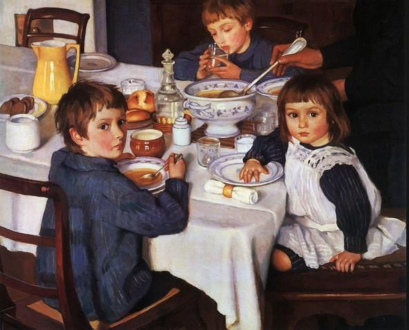 Сочинение по картине З.Е.Серебряковой «За обедом» (для 2 класса с опорными словами)
