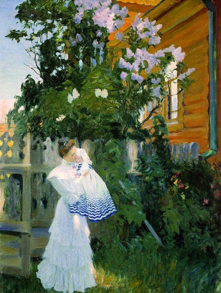 Сочинение по картине Б. М. Кустодиева «Сирень»